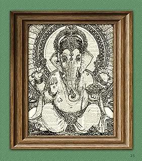 GANESHA Hindu Elephant God Ganesh print over an upcycled vintage dictionary page book art