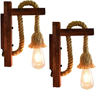 2-Pack Wooden Hemp Rope Wall Lamp Vintage Industrial Hallway Restaurant Bar Bedroom Bedside Lamp - Indoor Sconce Rustic Wa...