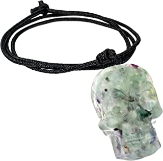 """TUMBEELLUWA Healing Crystal Orgonite Carved Skull Pendant Necklace for Men and Women, 18""""-26"""" Adjustable Quartz Chip Stone..."""
