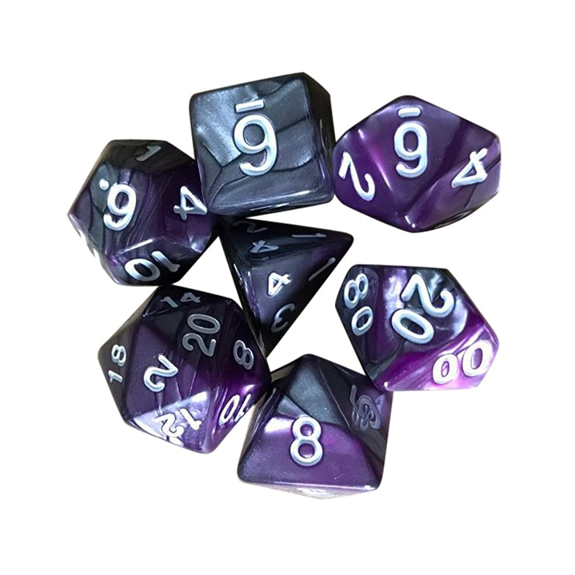 Nesee Dice, 7pcs TRPG Game Dungeons & Dragons Polyhedral D4-D20 Multi Sided Acrylic Gaming Dice Gift for TRPG Game Lovers