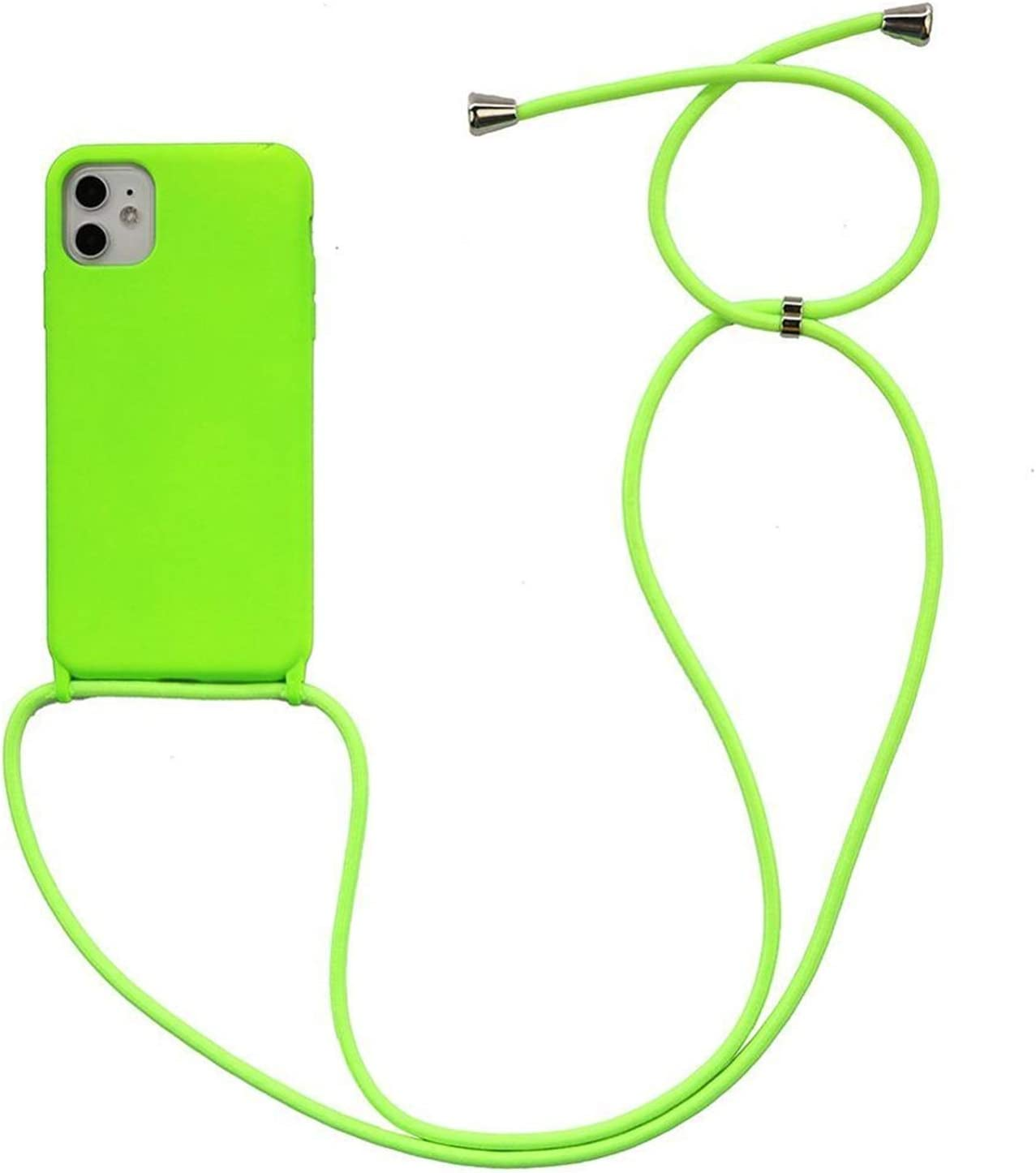 Zija Crossbody Necklace Holder Phone Case for iPhone 11 pro XS max Xr 6s 7 8 Plus Lanyard Silicone Case Cover with Cord Strap Rope (Color : Bright Green, Material : for 11 pro max)