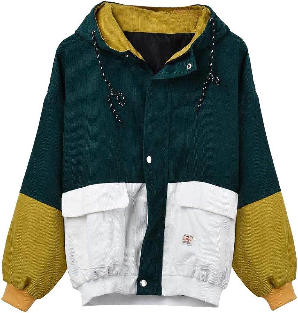 Woment Windbreaker Coat Overcoat Corduroy Patchwork Oversize Jacket