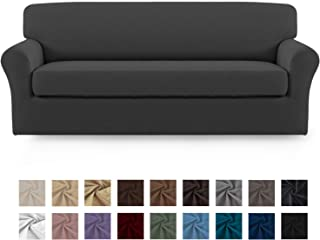Easy-Going 2 Pieces Microfiber Stretch Sofa Slipcover – Spandex Soft Fitted Sofa Couch Cover, Washable Furniture Protector with Elastic Bottom Kids,Pet (Sofa,Gray)