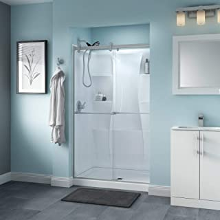 Delta Shower Doors SD3276563 Windemere Semi-Frameless Contemporary Sliding Shower Door 48in.x71in, Nickel Track