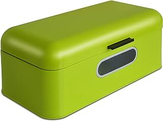 Panera Mika con ventanilla de visión, caja para pan de diseño retro de metal | óptima circulación del aire | Color verde lima–En dos tamaños, verde lima, Klein - 30,2 x 18,5 x 16 cm (B/T/H)