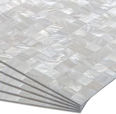 """DICOFUN 10 Sheets Mother of Pearl Peel and Stick Backspalsh, 12"""" x 12"""" Self Adhesive Mosaic Shell Tiles for Kitchen,"""