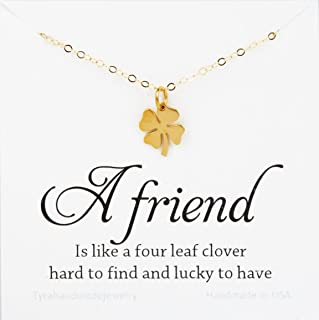 Four leaf clover necklace,shamrock necklace,lucky charm shamrock necklace,,Best friend gift,St Patricks Day gift,personalized message card,birthday gift