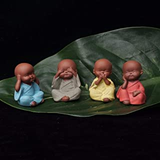 Pasonaseeds - Figurines & Miniatures - Small Buddha Statue Monk Figurine tathagata India Yoga Mandala Tea pet Purple Ceramic Crafts Decorative Ceramic Ornaments Monk