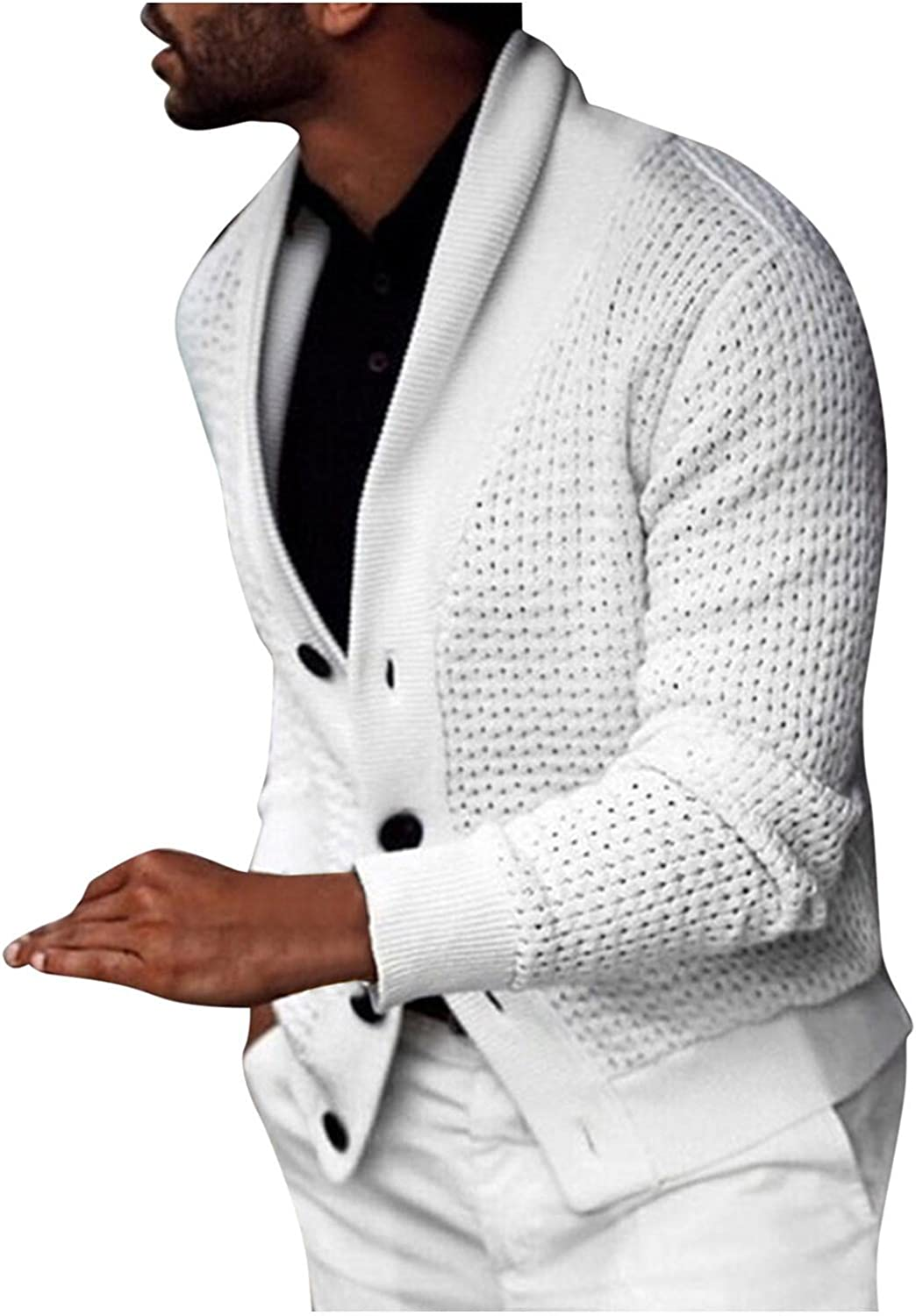 Men's Cable Knit Cardigan Sweater Casual Long Sleeve Slim Fit Solid Color Lapel Button Down Sweater Coats Blouse Shirts
