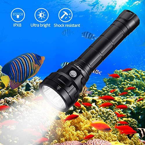 Linterna de Buceo Wurkkos DL40, Linterna de buceo con 5000 lúmenes. Resistencia al agua IPX8, 4 x Samsung LH351D(5000K) 90 Cri LEDs, Linterna de submarinismo con 2 x 26650 baterías y cargador