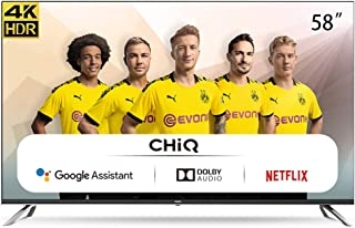 CHiQ Televisor Smart TV LED 58 Pulgadas, Android 9.0, Smart TV, UHD, 4K, WiFi, Bluetooth, Google Play Store, Google Assist...