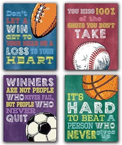 Colorful Sport Themed Art Print Basketball Football Baseball Inspirational Quote Art Print Set product image