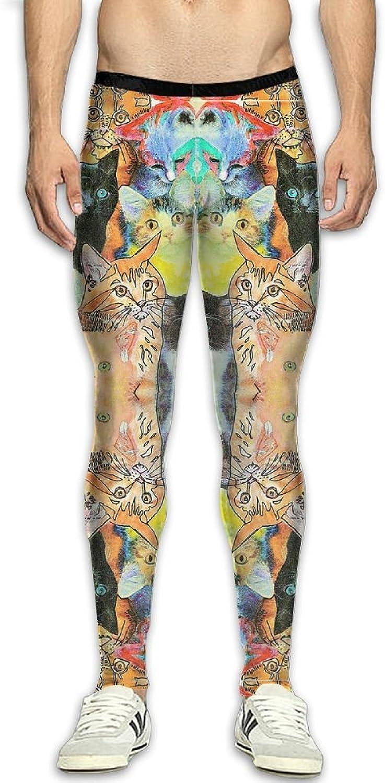 Mens Cats Colourful Compression Pants Sport Tight Leggings Elastic Waist Baselayer Yoga Sports Trousers