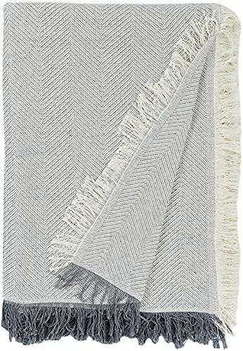 EURASIA - Colcha Multiusos para Sofá Estampado Espiga - Plaid Multiusos para Cama - Foulard Ideal para Sofás y Camas (Gris, 180 x 260 cm)