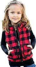 Toddler Baby Girl Plaid Zipper Jacket Kids Sleevless Fall Winter Warm Waistcoat Vest Pocket Coat Tops