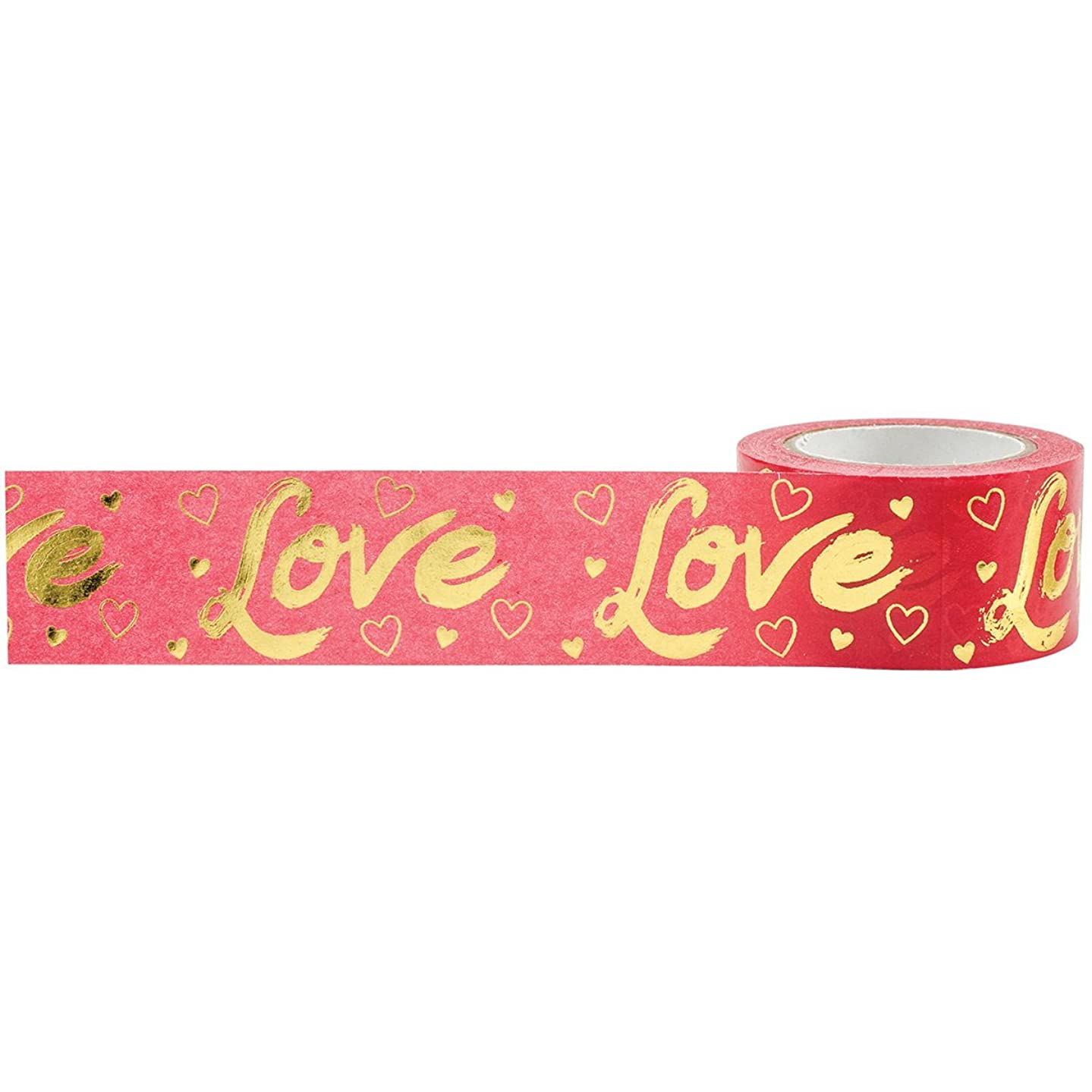 Little B 101034 Gold Foil Love Decorative Foil Paper Tape, Red