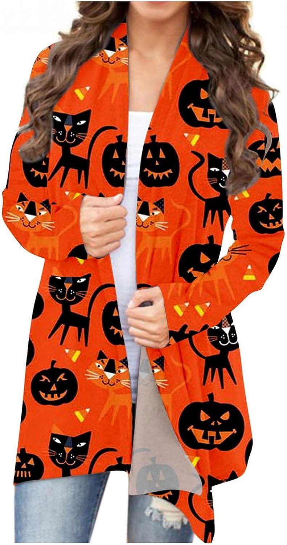 AODONG Cardigan for Women Lightweight Halloween Womens Long Sleeve Open Front Cardigan Tops Bat Cat Graphic Coat