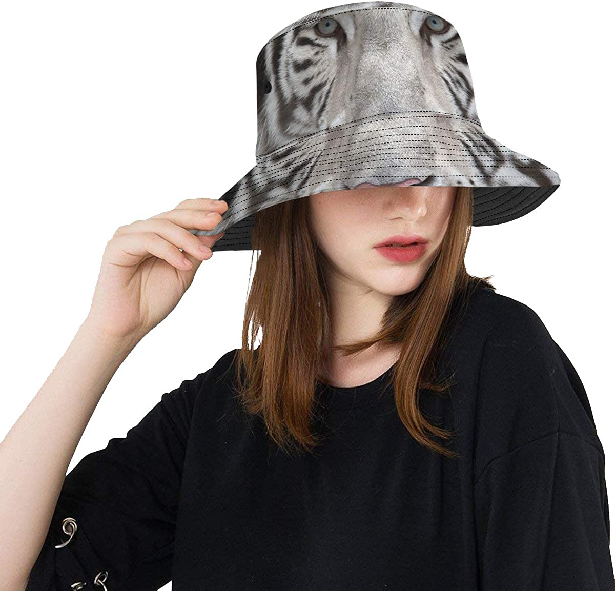 Ladies Long Beach Mall Hat Face to depot with Bengal White Summer Tiger Uni
