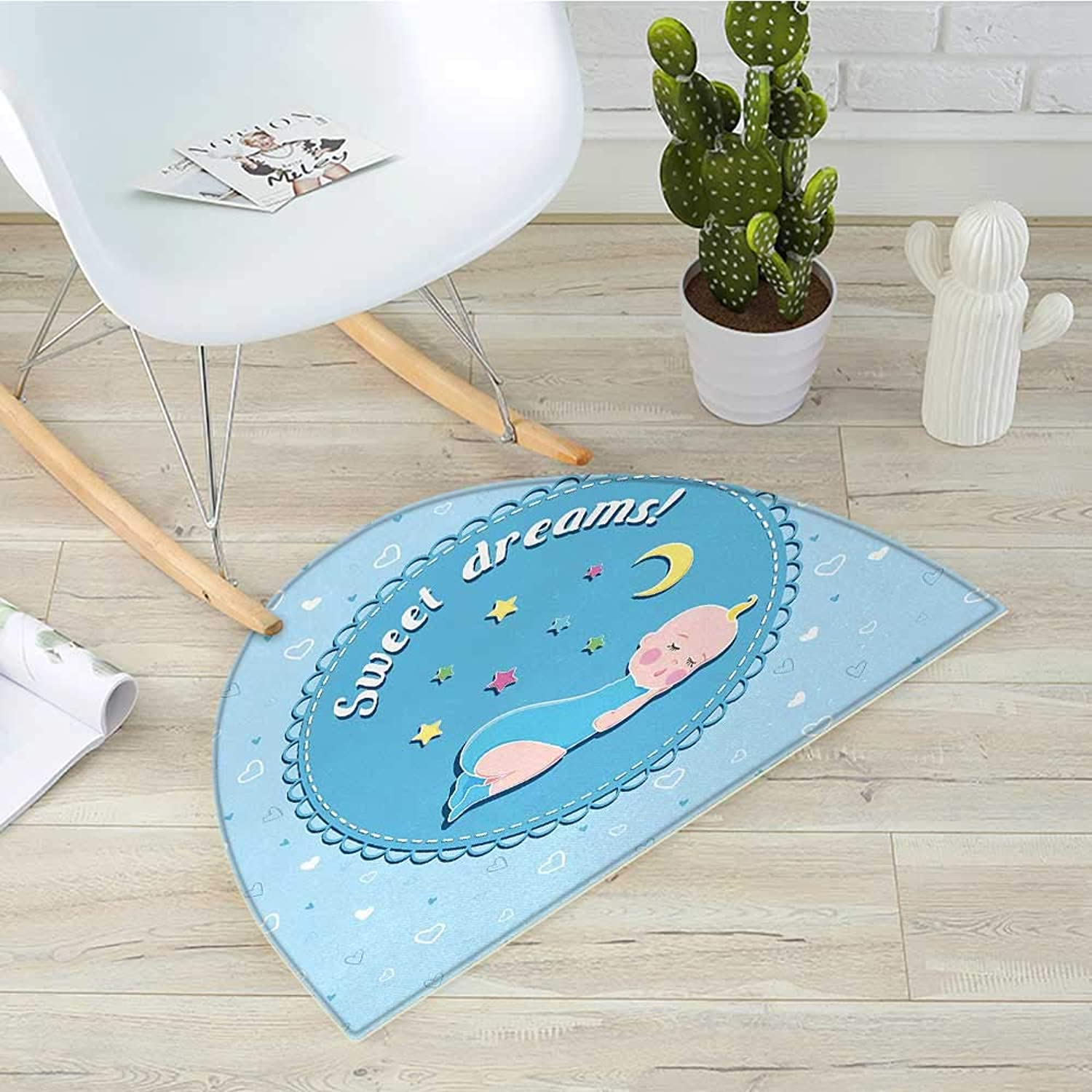 Sweet Dreams Semicircle Doormat Newborn Baby Sleeping with colorful Stars and Moon on Heart Filled Background Halfmoon doormats H 39.3  xD 59  Multicolor