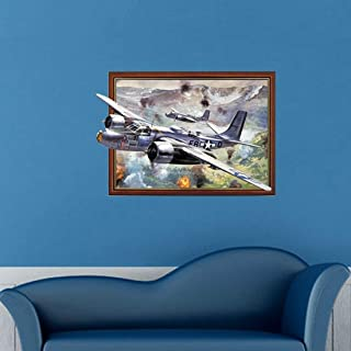 JINYANG Wall Stickers 3D Fighter Aircraft Removable Wall Art Stickers, Size: 84 x 58 x 0.3 cm