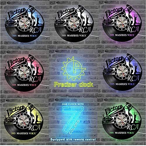 Djkaa CD-speler schattige hond vinyl record klok 3D decoratieve LED klok handgemaakt stomd opknoping wandklok met 7 kleuren wooncultuur