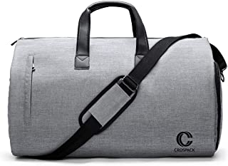 Crospack 2019 Upgrade 22 inch Garment Bag Suit Travel Bag with Shoulder Strap 2 in 1 Hanging Suit Travel Bags for Men Duffle Garment Bags Carry on Suit Carrier Travel Bag Foldable Flight Bag Gray