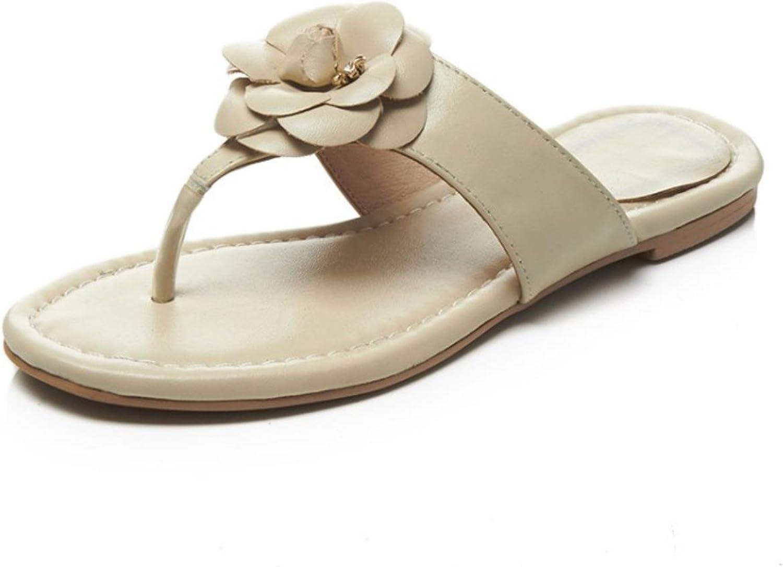 Women Flip Flop Slippers Open Toe Appliques Genuine Leather slipper