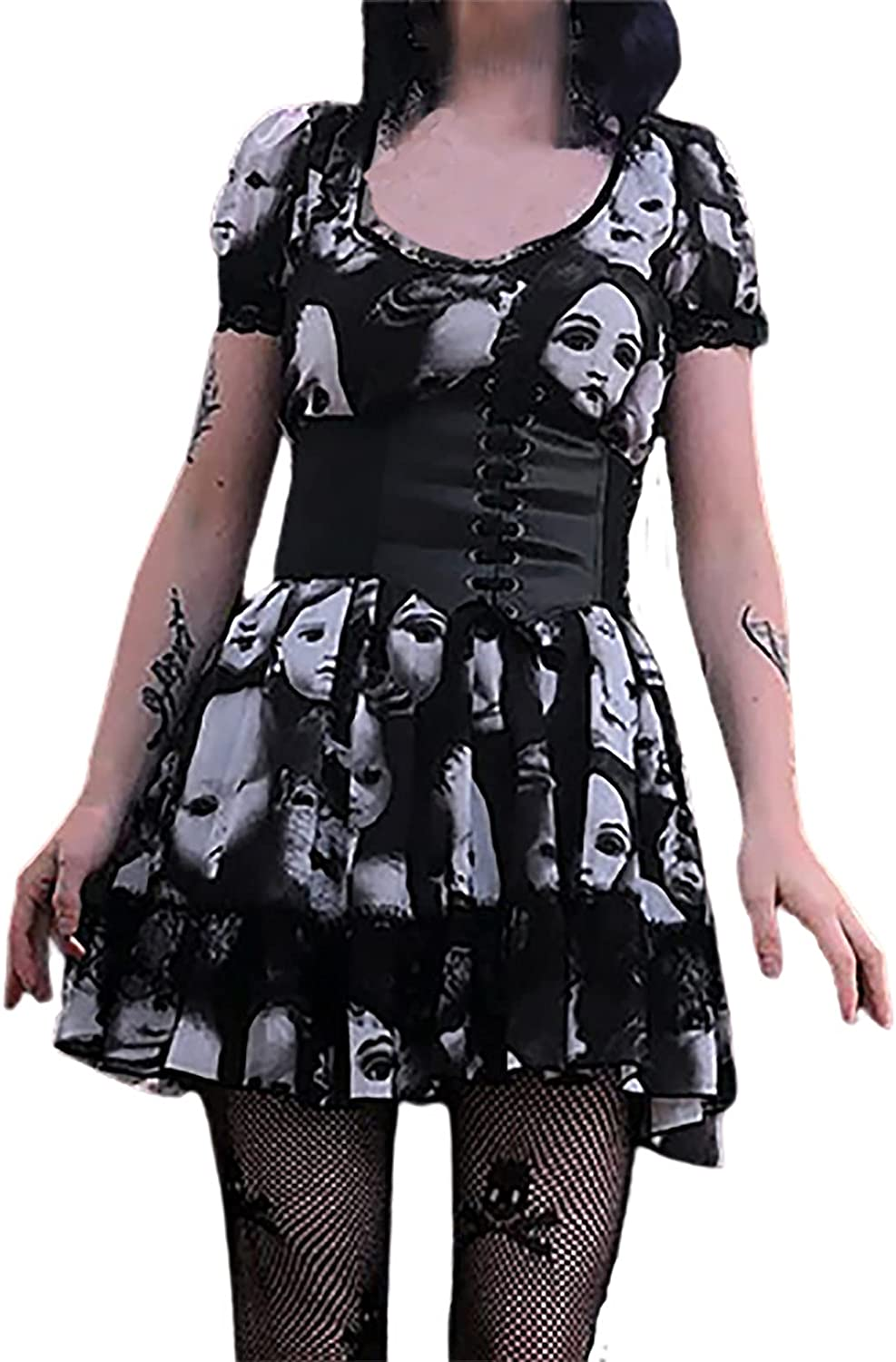 Women's Mini Dress Gothic Skull Printed Prom Skirt Round Neck Short Sleeve Lace Pleated Evening Party Dress