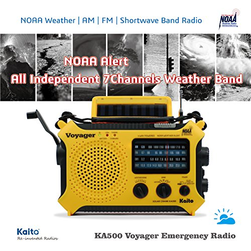 Product Image 7: Kaito KA500 5-way Powered Solar Power,Dynamo Crank, Wind Up Emergency AM/FM/SW/NOAA Weather Alert Radio with Flashlight,Reading Lamp and Cellphone Charger, Yellow