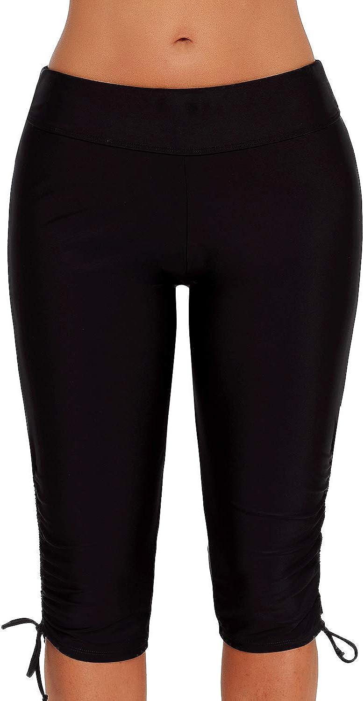 GLUDEAR Women Plus Size UV Sport Board Shorts High Waist Swimwear Shorts S-5XL