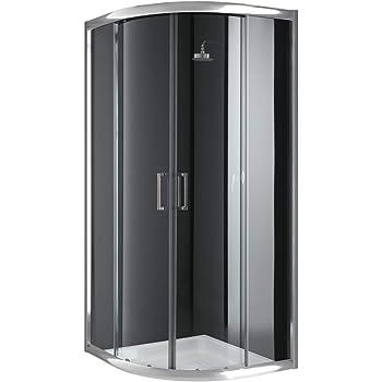 Cabina de ducha semicircular 90 x 90 x 198 cm, cristal ...