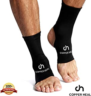 ANKLE Compression Sleeve by COPPER HEAL (PAIR) - Highest Copper Infused Socks Arch Support Foot Swelling Achilles Tendon Joint Pain Plantar Fasciitis Sports Injury (M)