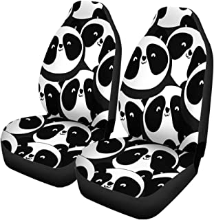 Pinbeam Car Seat Covers Colorful Pattern Panda Monochrome Animal Cute Black Cartoon Funny Set of 2 Auto Accessories Protectors Car Decor Universal Fit for Car Truck SUV