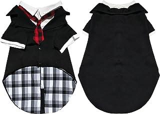Gorsbark Dog Tuxedo Suit for Wedding Costume, Formal Dog Shirts for Large Medium Dogs, Stylish Black Pet Clothing with Red...
