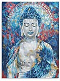 Buddha Art Wall Decor Vintage buddhism Wall Art Buddha Statue Canvas Zen Decor Blue Buddha Prints on Canvas buda for health Painting for Living Room Office Home Decoration Framed 12'x16'