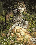 HQQK Pintar por Numeros Adultos Niñost, Dos Lobos descansando en el Bosque DIY Pintura al óleo Pintura por Números Kit de Pintura al óleo sobre Lienzo,Decoración Hogareña-Sin Marco -16x20inch