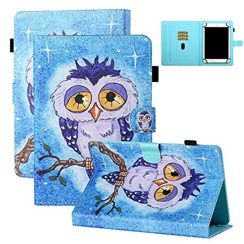 Coopts 8 inch Tablet Case with Pen Holder, PU Leather Protective Anti-Slip Stand Card Slots Case for Galaxy Tab A 8.0 /Tab E 8.0/Tab 4 8.0/Tab S2 8.0/MediaPad M2 8.0/VivoTab Note 8, Poor Owl