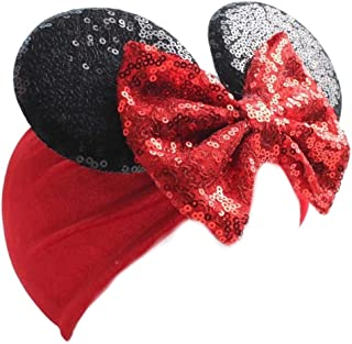 Premium Minnie Mouse Ears Headband for Baby - Sequin & Velvet Headwrap - Infant Toddler or Kids Hair Accessories - Costume Birthday Girl