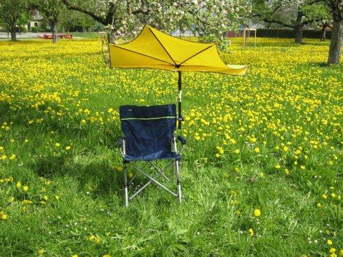 STABIELO hollysun ® sport et loisirs léger 130 kg de chaise pliable bleu et vert bandes fächerschirm holly'mat ® couleur : jaune avec support de parasol no 59 gummischutzkappen sC-innovation fabriqué en allemagne-holly ® produits sTABIELO-holly-sunshade ®