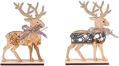 NUOBESTY Ciervos de Navidad Figuras Adornos Alces de Renos de pie de Madera Decorativos para Fiesta de Navidad 2 Piezas
