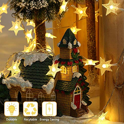 Led Lichterkette Sterne - 100LED 10M, Nakeey 8 Modi USB Warmweiß Lichterkette Sterne mit Fernbedienung für Innen und Außen Dekoration, Innenräume, Zimmer, Party, Weihnachten, Halloween, Hochzeit