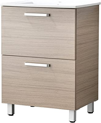 LifeSky LIF-BC031-2 Modern Bathroom Vanity Walnut Oak