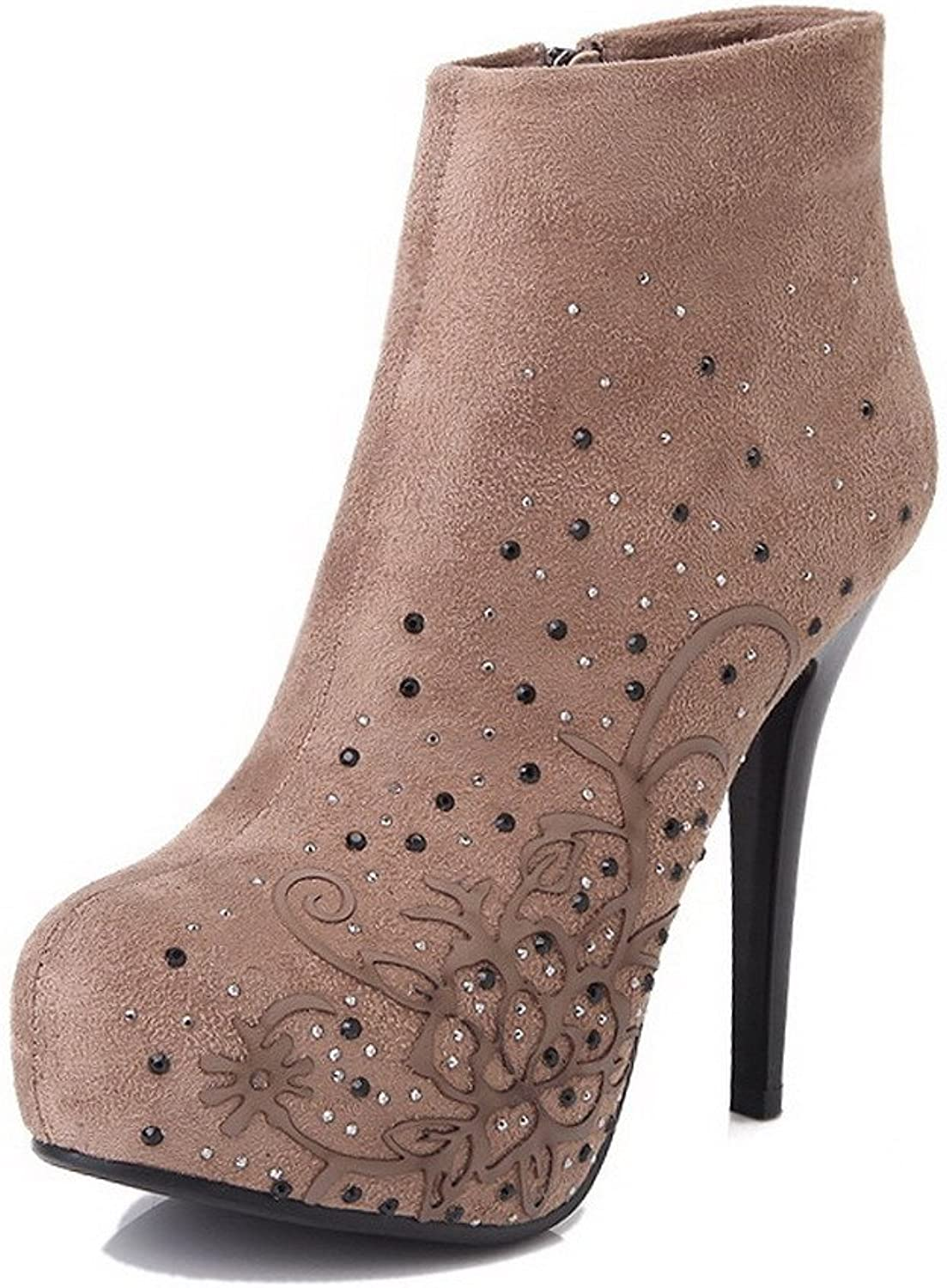 WeiPoot Women's Frosted Animal-Print Closed-Toe Boots with Thin High-Heeled