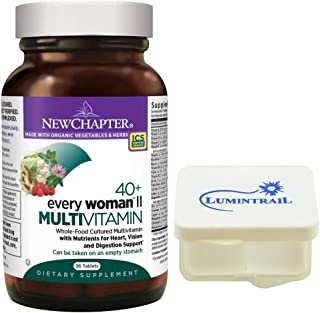 New Chapter Every Woman II Multivitamin 40+ Fermented with Probiotics, B Vitamins, Vitamin D3-96 Tablets Bundled with a Lumintrail Pill Case