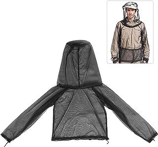 Jaqueta leve de malha mosquiteira com capuz Proteção externa Jaqueta de insetos para caminhadas, acampamento, pesca com mosca