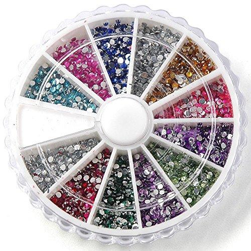 TOOGOO Boite de petit strass decoration ongles gel tip glitter rond 12 couleur manucure