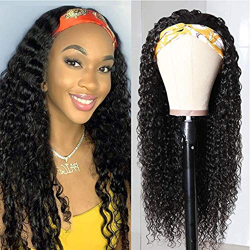 BLISSHAIR HeadBand Wig Curly Human Hair Wig None Lace Front Wigs for Black...