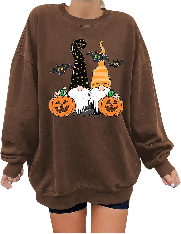 Halloween Womens Crewneck Sweatshirt Aesthetic Loose Long Sleeve Casual Trendy Fleece Drop Shoulder Pullover Top Tee