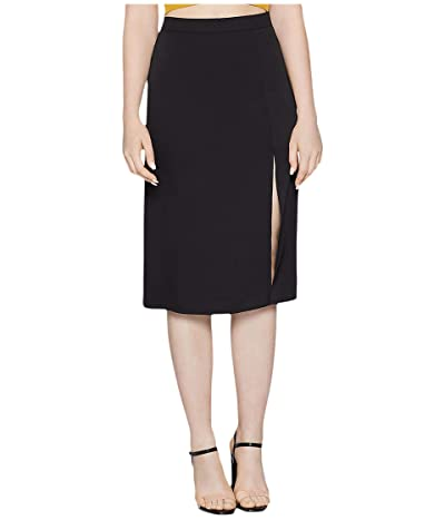 BCBGeneration Front Slit Woven Midi Skirt YQG3271501 (Black) Women