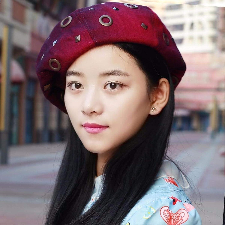 Dingkun Autumn Winter Female Cap beret rivet Fashion Cap, painter cap thick air hostesses Cap